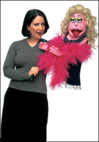 Stephanie D'Abruzzo (L) with Lucy T. Slut from <i>Avenue Q</i>.