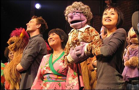 Christian Anderson, Ann Harada and Minglie Chen at curtain call