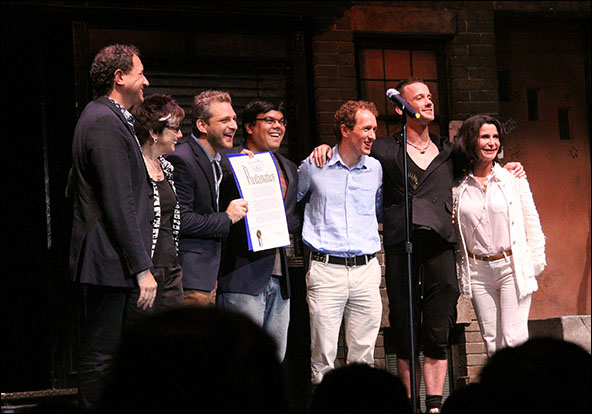 Producer Kevin McCollum, producer Robyn Goodman, composer Jeff Marx, composer Robert Lopez, producer Jeffrey Seller, playwright Jeff Whitty and commissioner Katherine Oliver