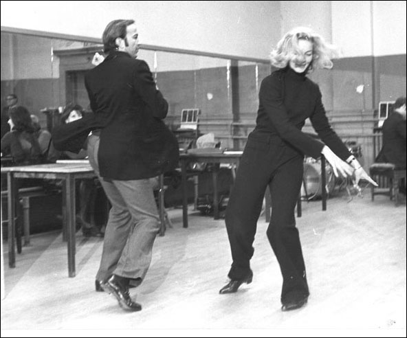 Director Ron Field and Lauren Bacall in rehearsal for Applause