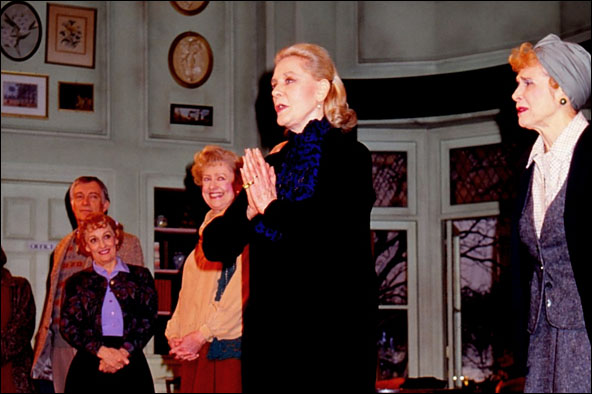 Lauren Bacall, Rosemary Murphy and cast, closing night curtain call for Waiting in the Wings