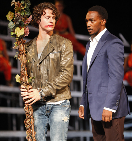 Jonathan Groff and Anthony Mackie in The Bacchae, 2009