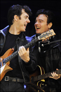 Andrew Knott and Daniel Healy in the London production of <i>Backbeat</i>.