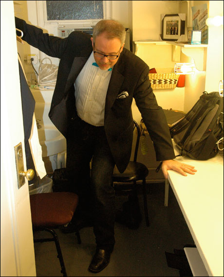 David Chase getting into his tuxedo before the evening performance.  He always wears a tux, even when he's not conducting. David's wife, the lovely actress Paula Legget, told me David even wears a tux to bed.  You gotta love a man who dresses formal.