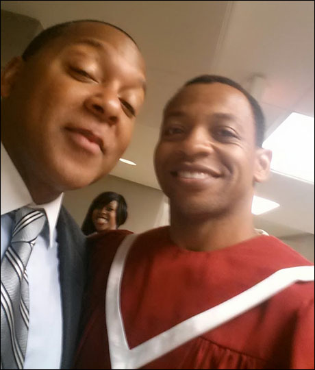 Marsalis schooling me in the ways of jazz. I am taking tons of notes.