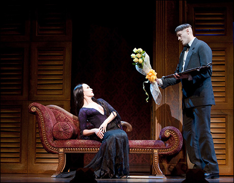 Bebe Neuwirth and Zachary James in The Addams Family