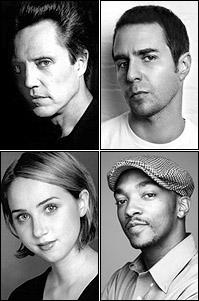 (clockwise from top left) Christopher Walken, Sam Rockwell, Anthony Mackie and Zoe Kazan