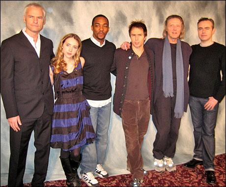 Playwright Martin McDonagh, Zoe Kazan, Anthony Mackie, Sam Rockwell, Christopher Walken and director John Crowley