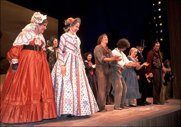 Jane Connell, Linda Purl, Jim Poulos, Joshua Park, Kristen Bell and cast during the opening night curtain call for The Adventures of Tom Sawyer, April 26, 2001