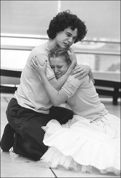 Joshua Park and Kristen Bell rehearse The Adventures of Tom Sawyer, 2001