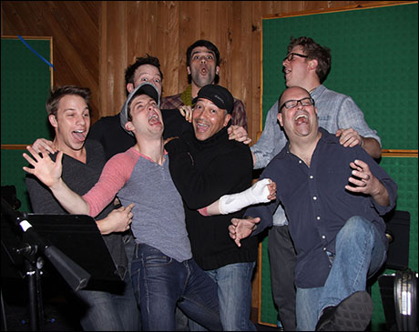 The men of Big Fish:  Joshua Buscher, Tally Sessions, Ben Crawford, Preston Truman Boyd, Brad Oscar, JC Montgomery and Jason Lee Garrett