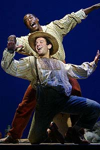Tyrone Giordano and Michael McElroy in Broadway's <I>Big River.</I>
