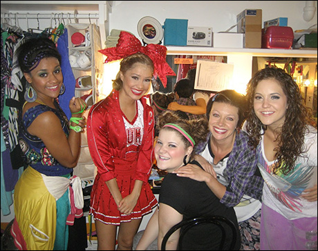 Ariana Debose, Elle McLemore, Ryann Redmond, me and Janet Krupin pose in the girls' dressing room before the top of act two.