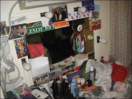 My dressing area may not be the cleanest, but it has a lot of character! (Leslie is the name of my character at Jackson, so I try to get into character by having her name up in addition to my real name!)