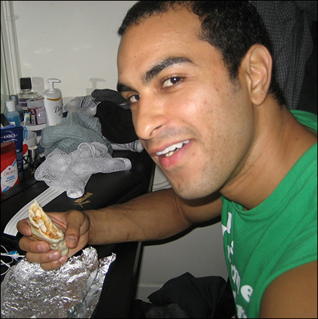 Bettis Richardson enjoys a burrito from his favorite deli before the first show.
