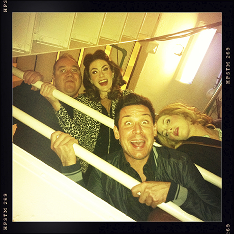 """""""… this is your places call."""" Time to be funny! (l-r) Blake Hammond, Kate Loprest, Kristoffer Cusick and Sara Chase."""