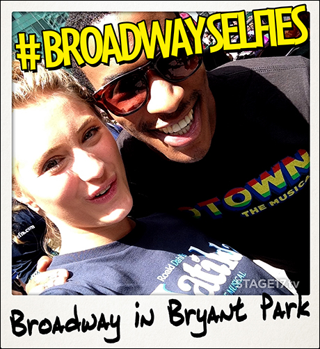 Heather Tepe from Matilda the Musical 'ain't too proud to beg' for a selfie with Motown the Musical's Justin Prescott.