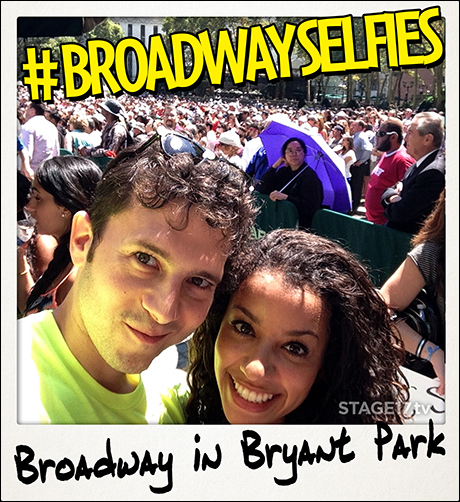 #BroadwaySelfies creator, Jacob Pinion with his fellow Mamma Mia! cast member, Sydni Beaudoin.