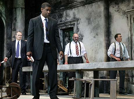 Colm Feore (left), Denzel Washington, Jack Willis and Patrick Page