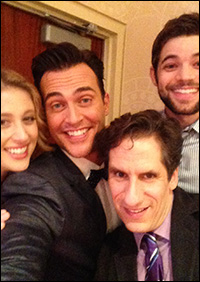 Seth with Caissie Levy, Cheyenne Jackson and Jeremy Jordan