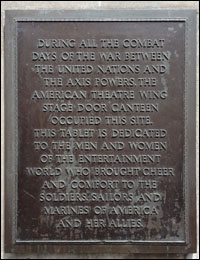 This tablet on 44th Street commemorates the Stage Door Canteen.