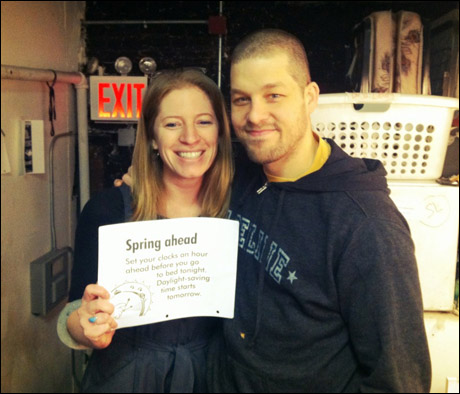 Ben Thompson, our Billy, is chatting with stage manager Amber White about daylight savings time.
