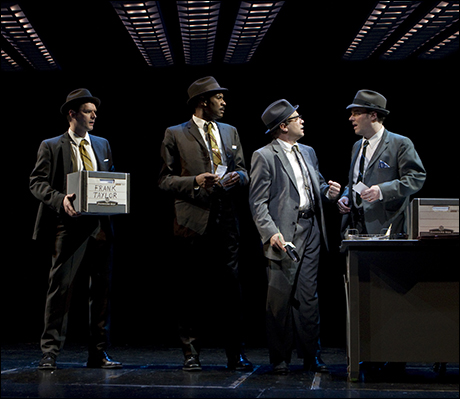 Brandon Wardell, Timothy McCuen Piggee, Norbert Leo Butz and Joe Cassidy in Catch Me If You Can