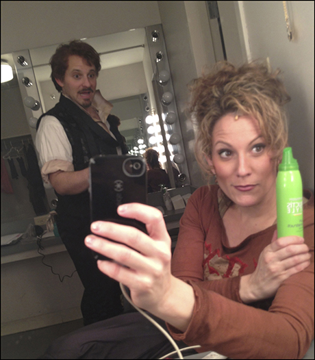 Only 3 of us use our own hair in the show - to achieve these wannabe curls (more like frizz) - I rely on my Garnier Mousse.  So, totally, 1995!  Apparently, Michael Thomas Holmes is impressed!  PS: he is NOT one of the people using his own hair.  #bald.