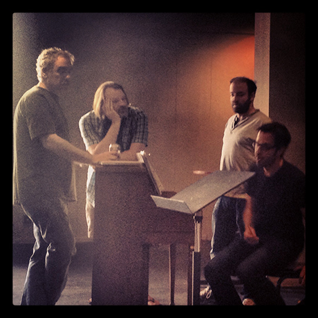 I caught a moment while the whole music department was together working something out.  Music Director David O, Composer Ben Toth, Lyricist Sam Forman and Musical Supervisor Larry Blank.  It was a beautiful moment with light filtering in.