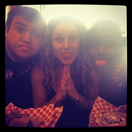 Todd Buonopane, Terron Brooks and me having fun at lunch... bonding over orange smiles.