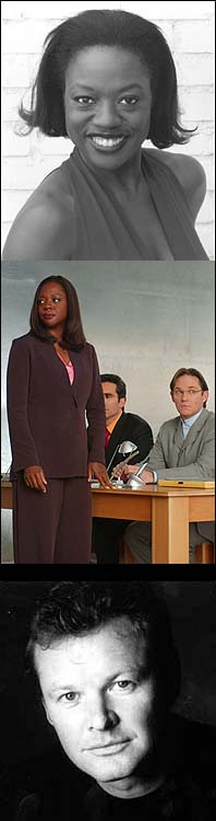 Top: Viola Davis, Middle: Davis with Nestor Carbonell and Richard Thomas in a scene from