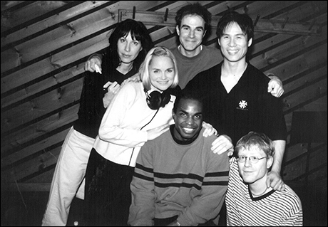 Kristin Chenoweth and cast in the recording studio for  You're a Good Man, Charlie Brown