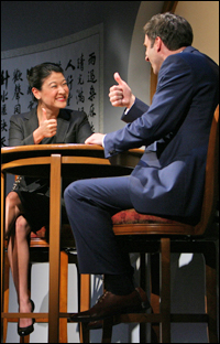 Jennifer Lim and James Waterston in the Goodman production of <i>Chinglish</i>.