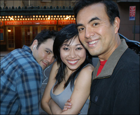Larry, Angela, Brian Nishii, outside our stage door.