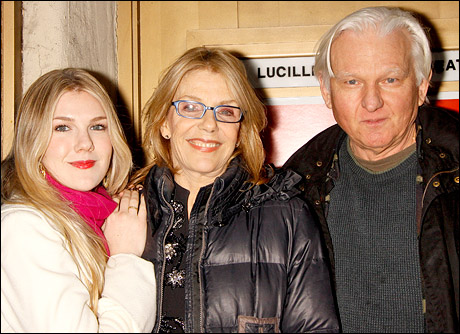Actress Jill Clayburgh died of chronic leukemia Nov. 5.  Following a delay in opening night, her daughter Lily Rabe (pictured with Clayburgh and father David Rabe) opened to positive reviews as Portia in The Merchant of Venice days later.