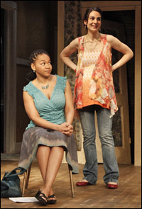 Crystal A. Dickinson and Annie Parisse in the 2010 Off-Broadway production of <i>Clybourne Park.</i>