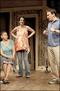 Crystal A. Dickinson, Annie Parisse and Jeremy Shamos in <I>Clybourne Park</I> at Playwrights Horizons in 2010.
