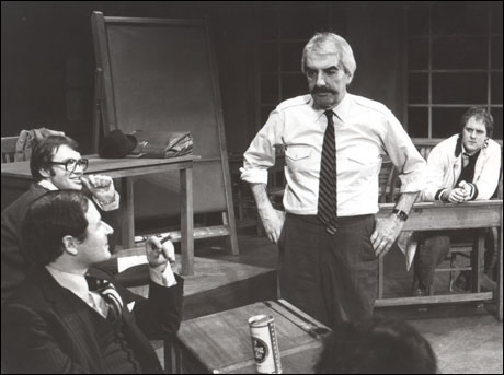 David Margulies, Larry Lamb, Milo O'Shea and John Lithgow in Comedians, 1976