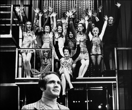 Larry Kert and cast in the original Broadway production, 1970.
