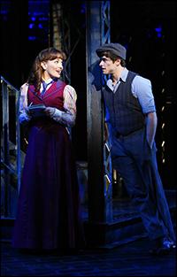 Kara Lindsay and Corey Cott in <i>Newsies</i>.