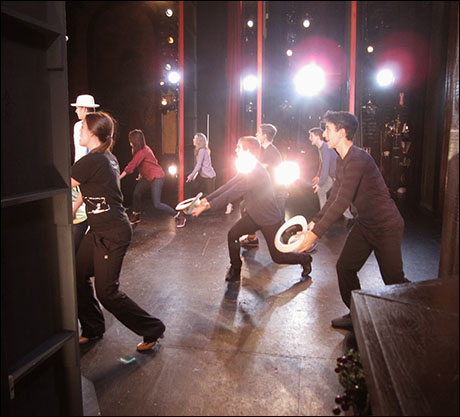 """Ben and the ensemble rehearse the big Act I finale number """"Blue Skies."""""""