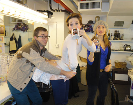 In the girls room dresser Sam (mine from Anything Goes, so nice to have him around!) tests Kiira Schmidt's bustle as Janine Divita hydrates. Oh…and they were both in my last show Anything Goes, too! We came together!