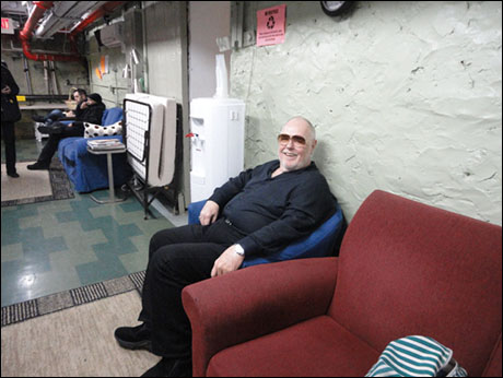 """King Paul Gemignani in """"his"""" chair in the Green Room!"""