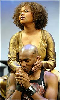 Alfre Woodard (top) and Anthony Mackie in <i>Drowning Crow</i>