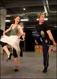 Mara Davi and Scott Bakula in rehearsal.