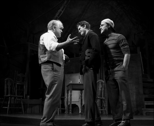 Philip Seymour Hoffman, Andrew Garfield and Finn Wittrock in the 2012 Broadway revival Death of a Salesman.