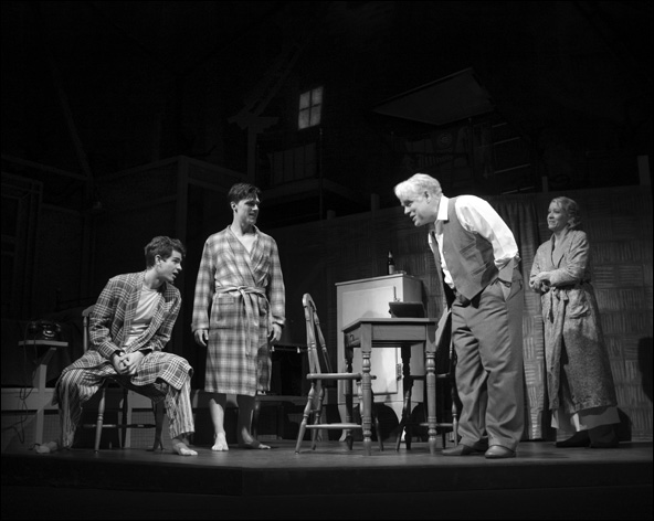 Andrew Garfield, Finn Wittrock, Philip Seymour Hoffman and Linda Emond in the 2012 Broadway revival Death of a Salesman.