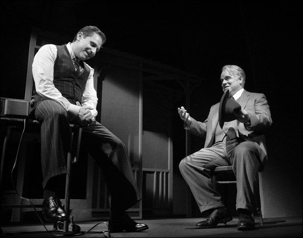 Remy Auberjonois and Philip Seymour Hoffman in the 2012 Broadway revival Death of a Salesman.