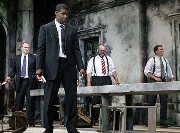 Colm Feore, Denzel Washington, Jack Willis and Patrick Page in Julius Caesar.