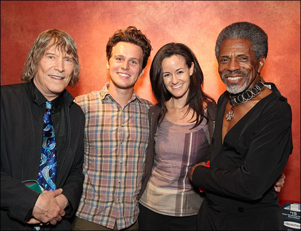 James Rado, Jonathan Groff, Kimberly Grigsby (conductor) and Andre De Shields